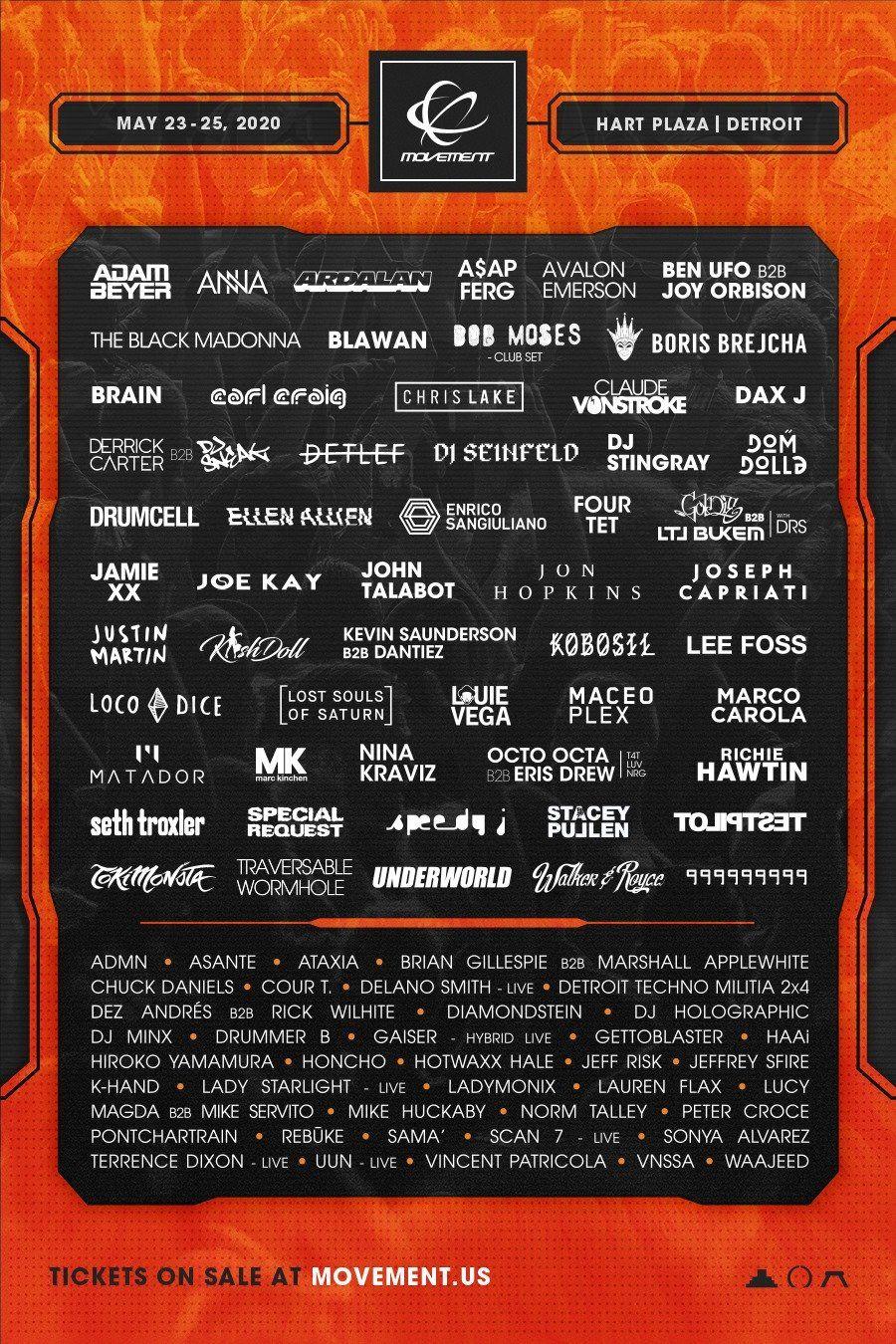 Movement Festival Detroit Announces Its 2020 Lineup With