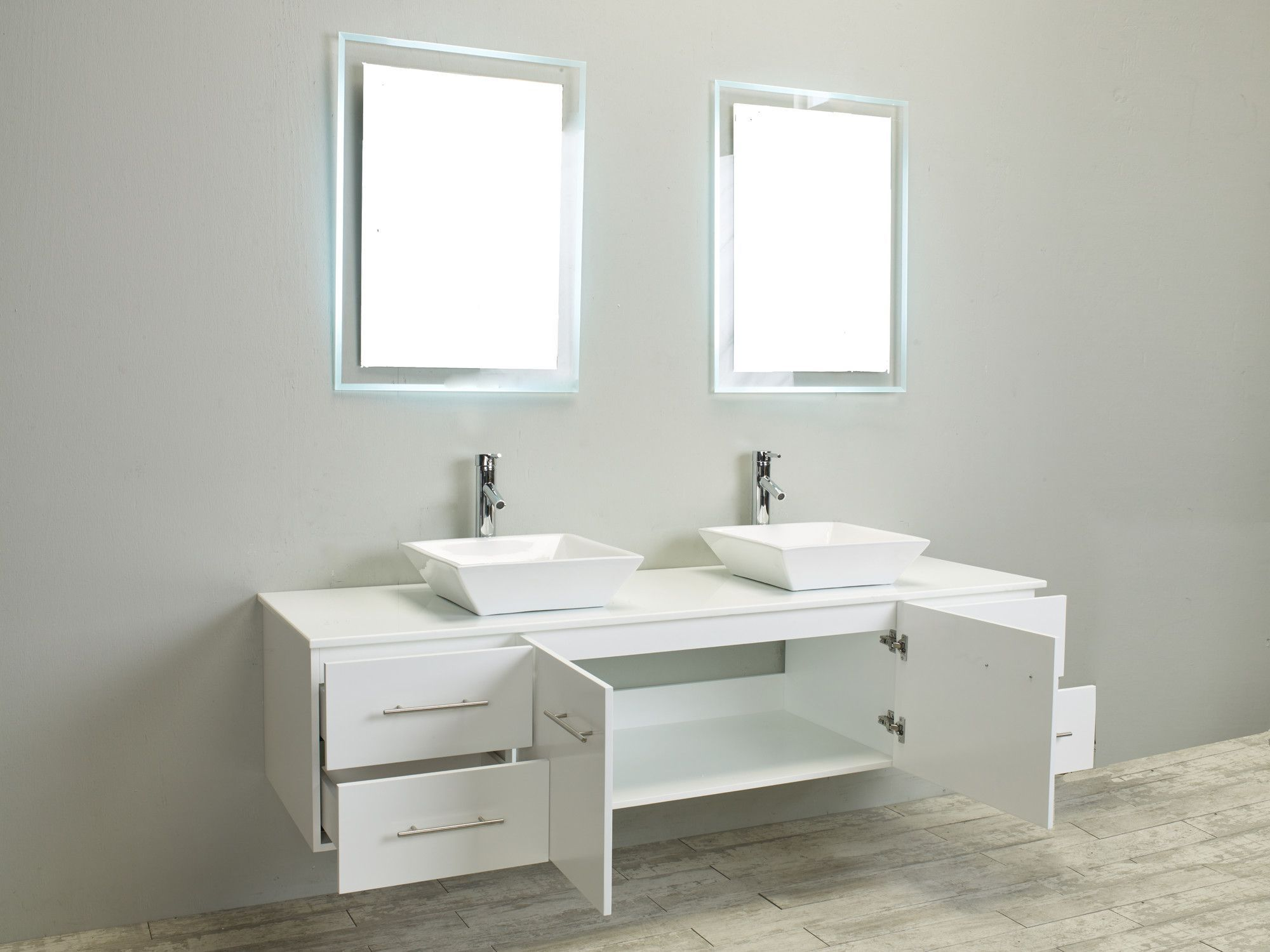 Totti Wave 72-Inch White Modern Double Sink Bathroom Vanity with ...