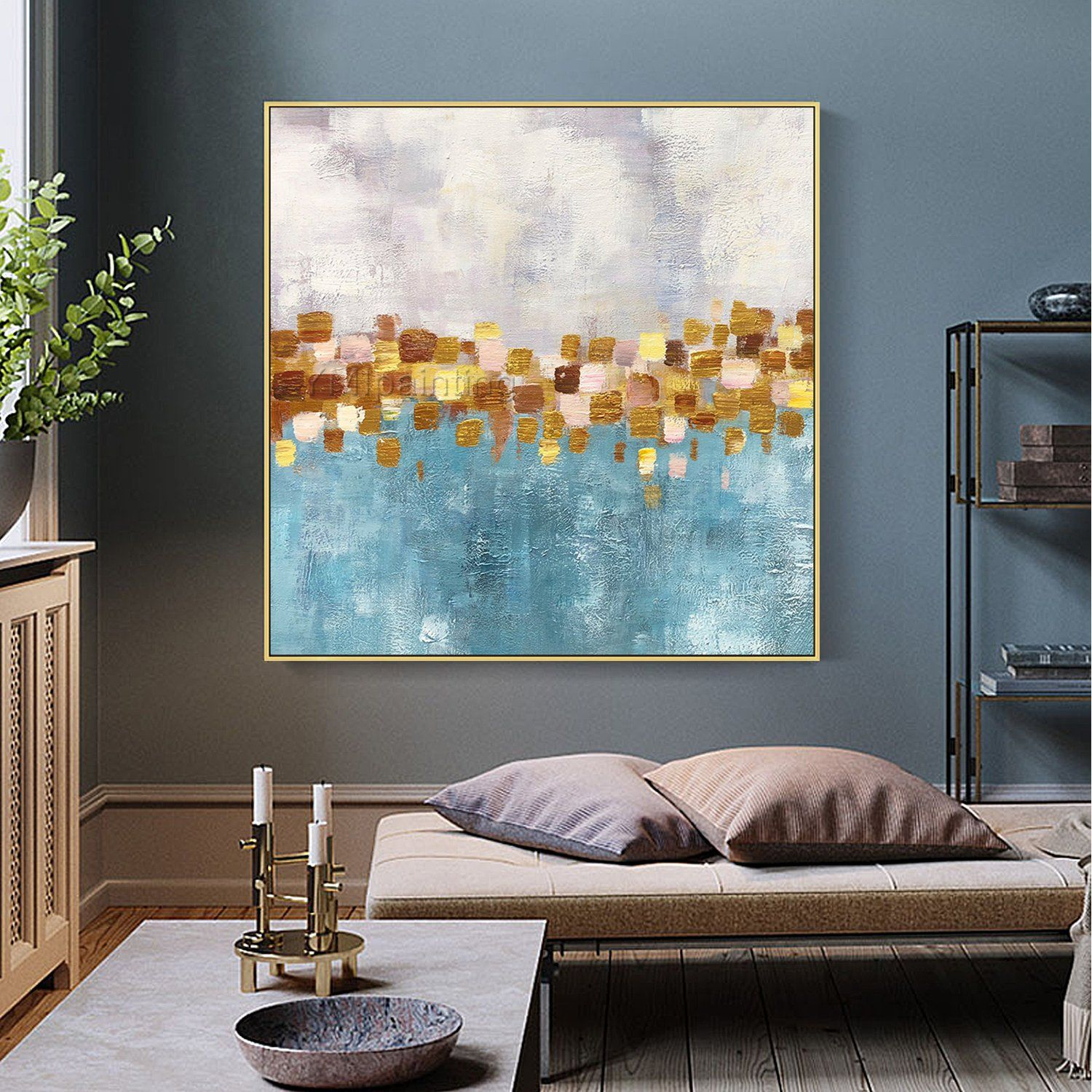 gold leaf abstract flowers acrylic paintings on canvas on modern acrylic paintings for living room id=19250