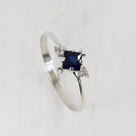 Sapphire Ring Silver Anniversary Ring Blue Sapphire Ring Blue
