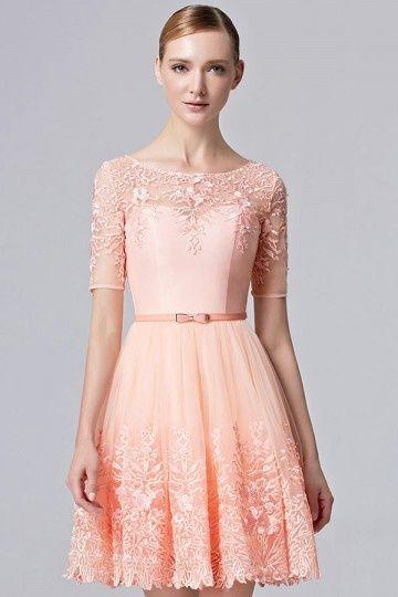 f2563492d27 Chic robe de soirée orange encolure illusion en dentelle ajourée avec  manche courte