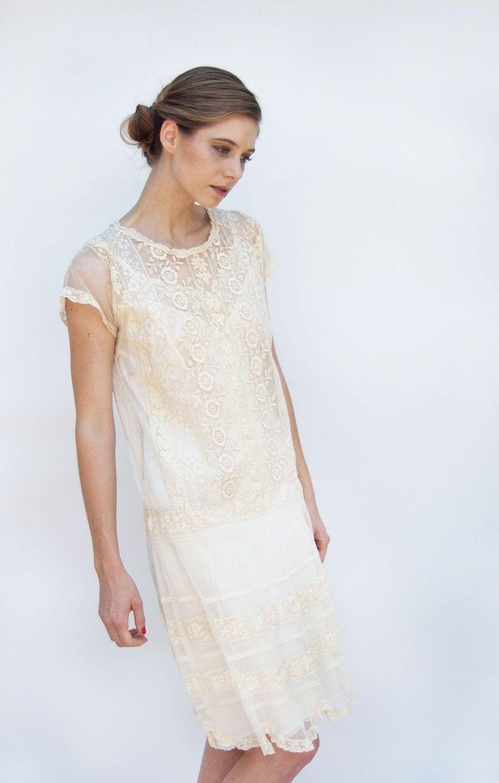 Vintage 1920s Wedding Dress - Great Gatsby - Flapper Ecru Lace Shift ...