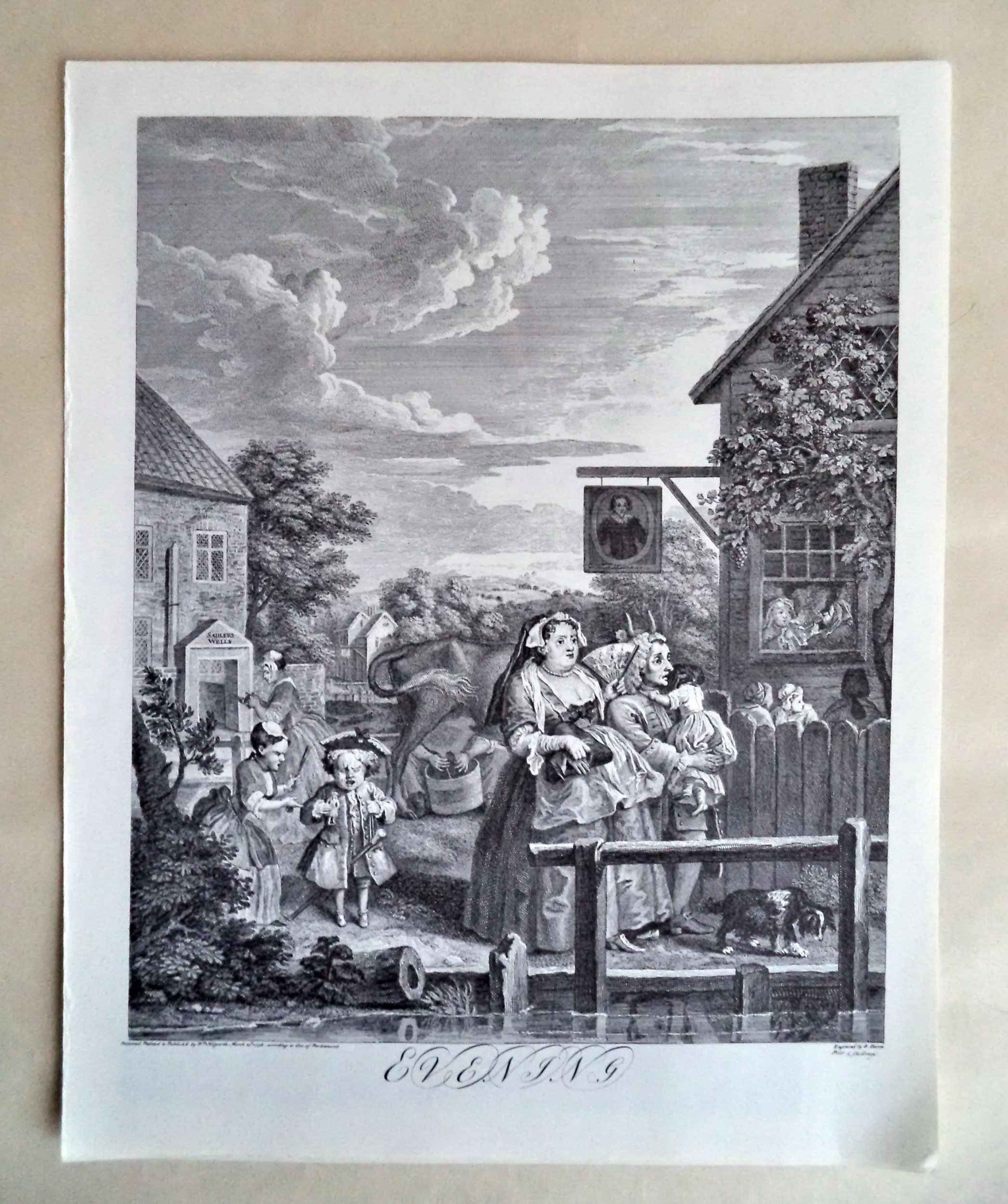Vintage Hogarth Evening Original Engraving Print Hogarth Print