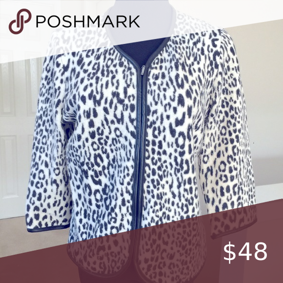 "Chico's ""leather"" trimmed animal print jacket"
