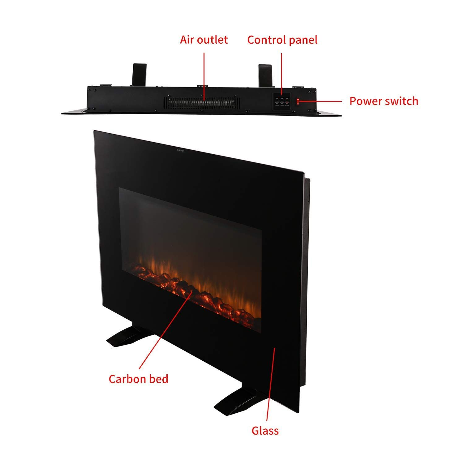 Amazon Com Koolwoom Electrical Fireplace Stove With Heater 38 X3 7 X22 4 Wall Mounted Black Portable Electric Fireplace Stove Fireplace Electric Fireplace