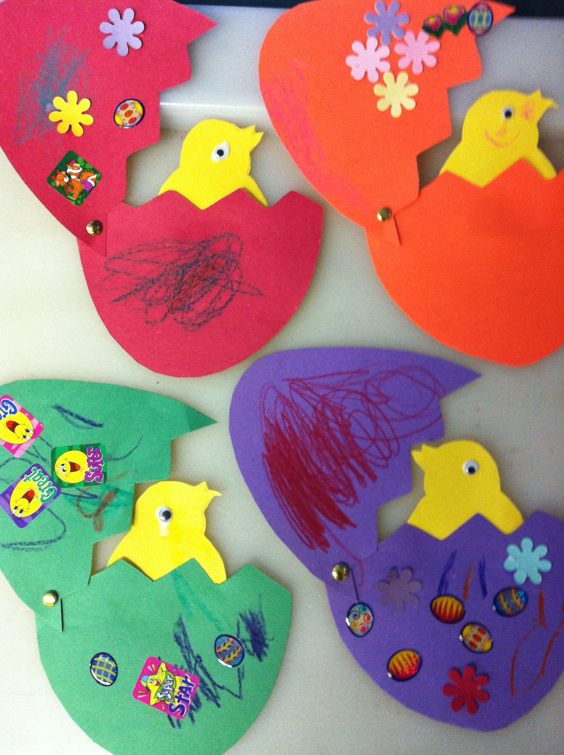 """Easter craft for school. Use a picture of the little ones """"popping"""" out of the egg!  Did this when I taught!"""