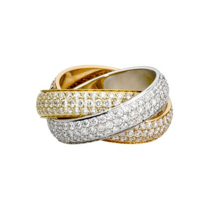 6248799b1b477 Replica Cartier Classic18 K 3-Gold Ring With Paved White Diamonds 1 ...