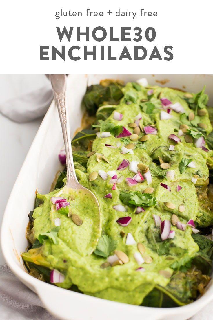 Whole30 Enchiladas with Poblano-Pork Stuffing & Creamy-Avocado Sauce -  These Whole30 enchiladas ar