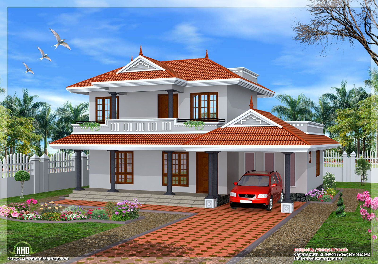 September kerala home design floor plans isometric views for Kerala style villa plans