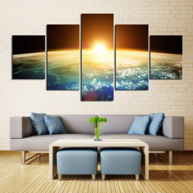 Large 5 pieces canvas wall print painting sky universe space picture galaxy photo art print poster custom wall art picture takofashion womens clothing