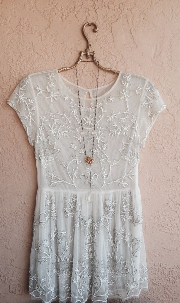d4870ca42739 WEDDING DRESS FREE PEOPLE GYPSY GODDESS SHEER MESH TUNIC WITH SILVER BEADS