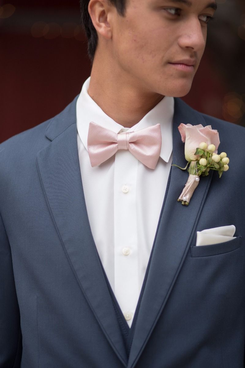 Pink dress shirt blue suit  Blush pink bow tie and boutonniere with a slate blue suit  Wedding