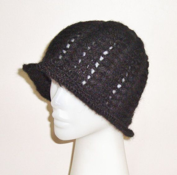 60072650d90 Crochet Black Women Beanie Cloche Hat Winter by earflaphats