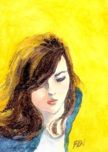 """beautiful woman painting """"A Girl's Hair Is Shining"""" desk decoration small art print home room wall decor"""