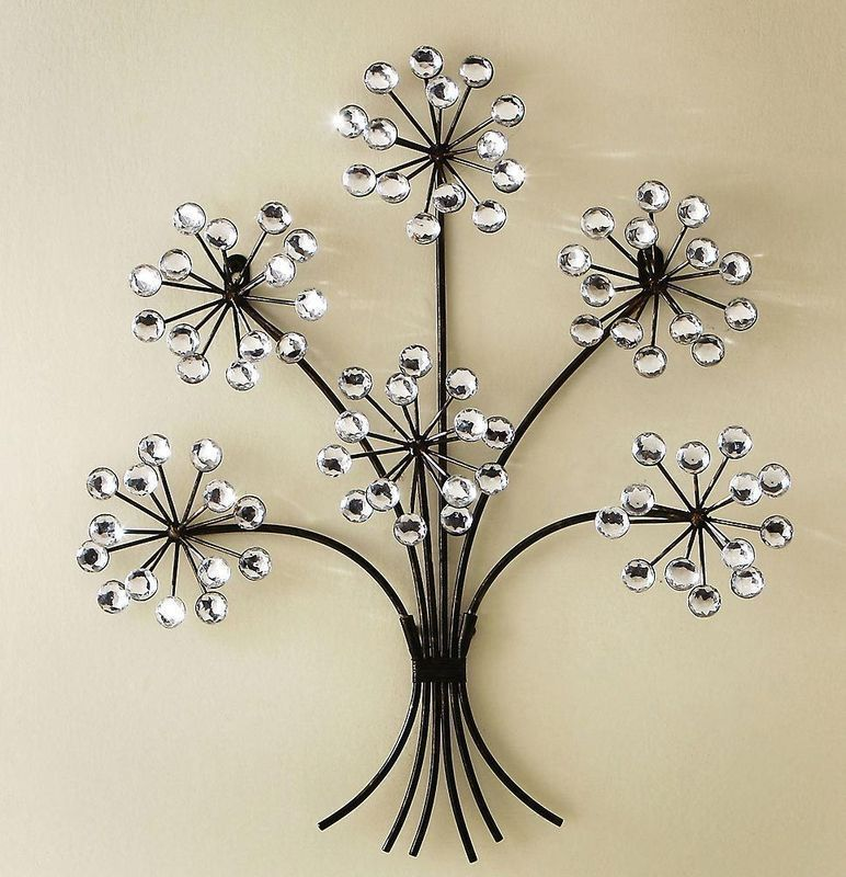 3d Clear Acrylic Crystal Blossoms Bouquet Antiqued Metal Tree