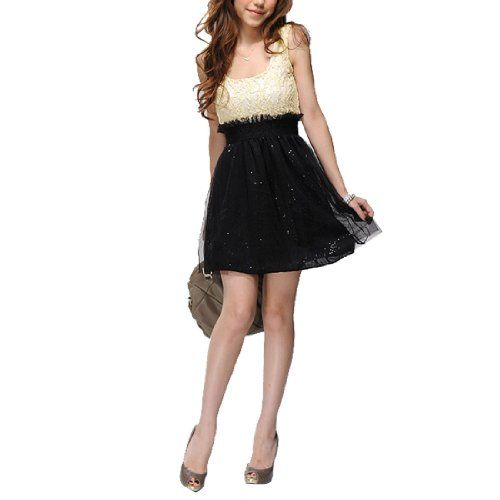 BESTSELLER! Allegra K Ladies Scoop Neck Sleeveless Sequin Decor Mini Tank Dress Black Beige XS $9.63