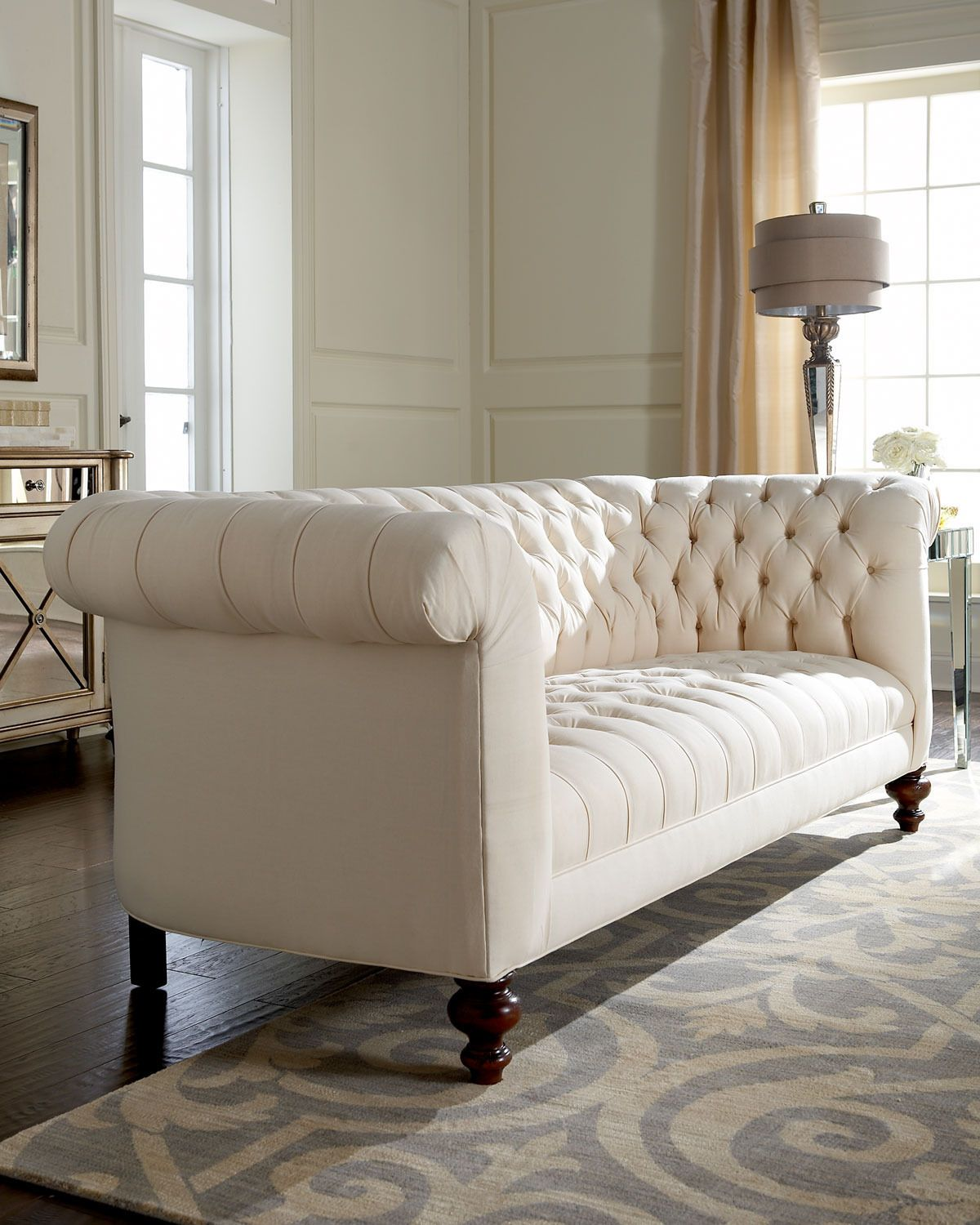 Gojee Ellsworth Neutral Tufted Sofa by Old Hickory