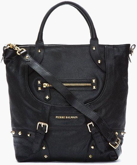 PIERRE BALMAIN Black Textured Leather Studded Satchel - Lyst