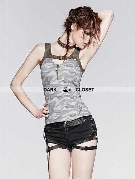 Punk Rave Gothic Vintage Gamouflage Knit Sleeves Vest For Women