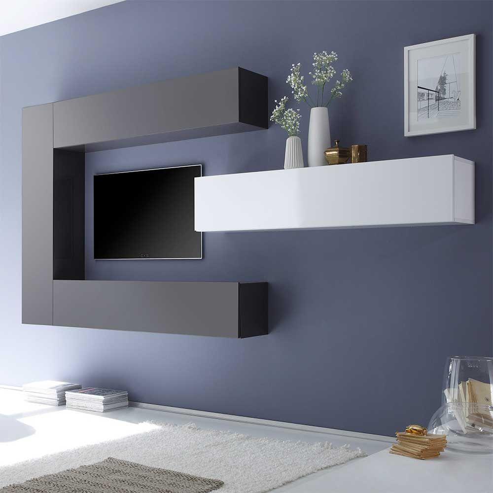 Design Wohnwand Lirodicos In Weiß Anthrazit Hochglanz Hängend 4