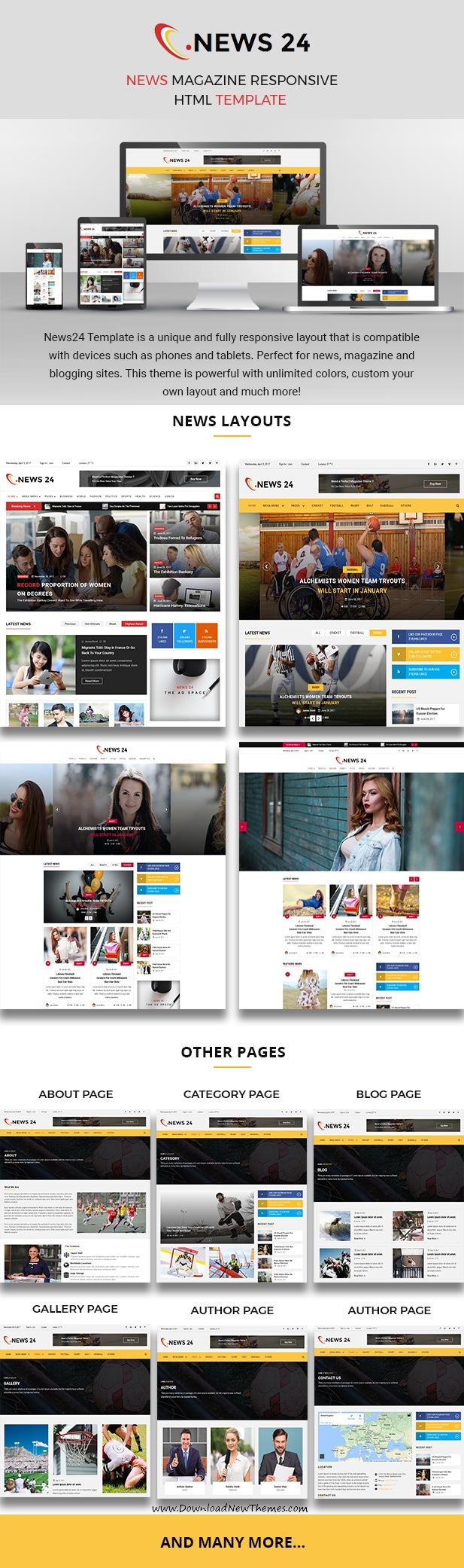 News 24 - News Magazine Responsive HTML Template | Template ...