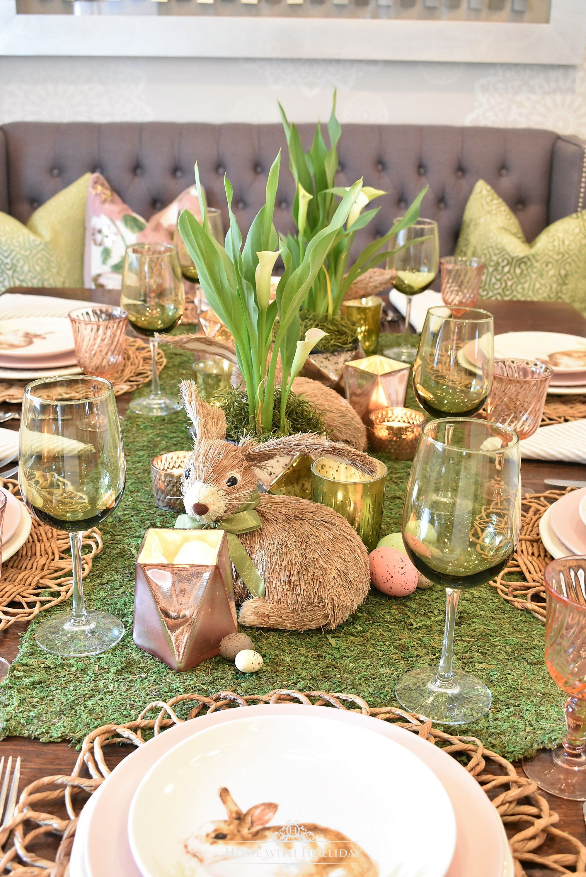 green and blush pink easter table setting | easter decorating ideas