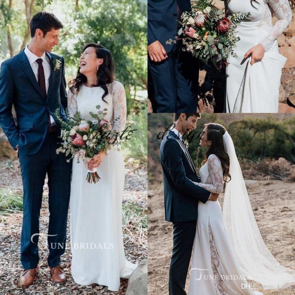 Vintage Long Sleeve Bohemian Wedding Dresses 2018 Lace Chiffon