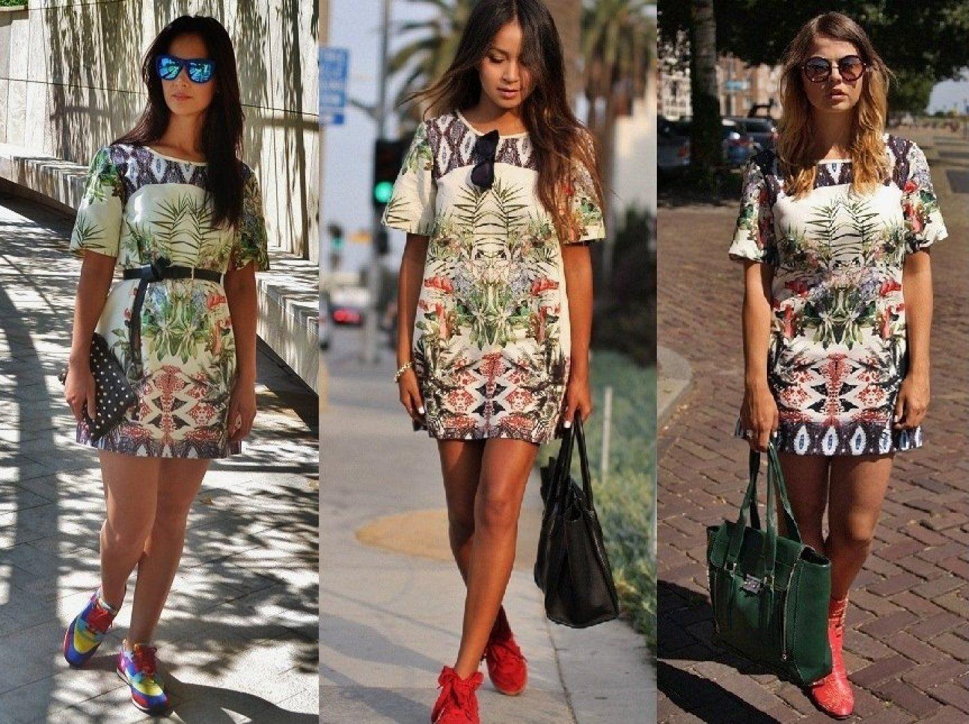 Zara Woman Bloggerkleid M 38 graphisches Muster Tropical ...