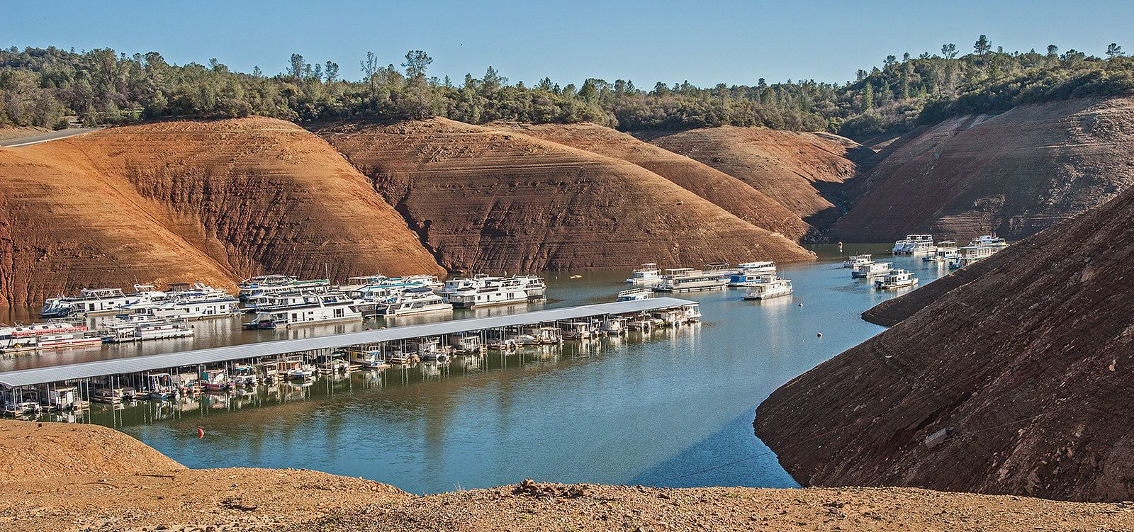 Low Water Level In Lake Oroville At Bidwell Canyon Marina Oroville California 2 22 2014