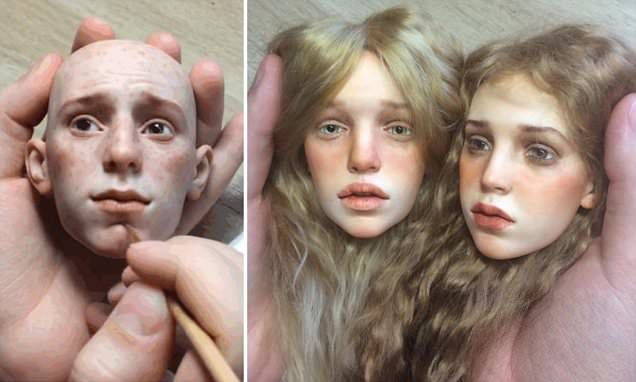 Michael Zajkov, from Moscow, makes dolls that are painstakingly hand-sculpted, with glass eyes and French mohair wigs with uncannily human expressions that are snapped up by collectors.