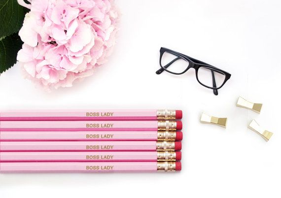 Personalized Pencils Boss Lady Like A Pink Gold Pencil Set Engraved Gift For Her Embossed Office Supplies