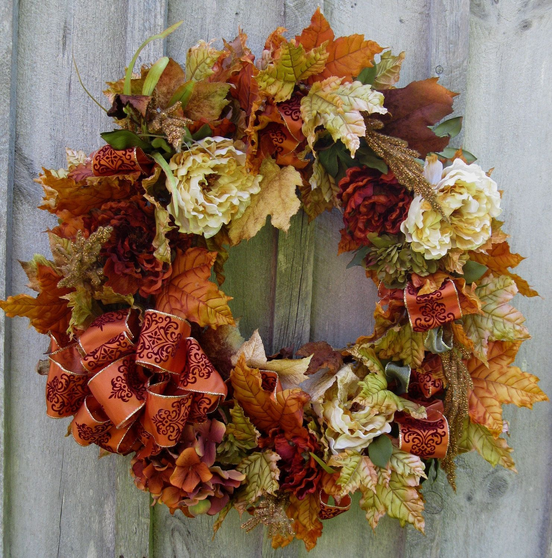 Fall Wreath Fall Wreaths Autumn Floral Wreath Elegant Designer Decor
