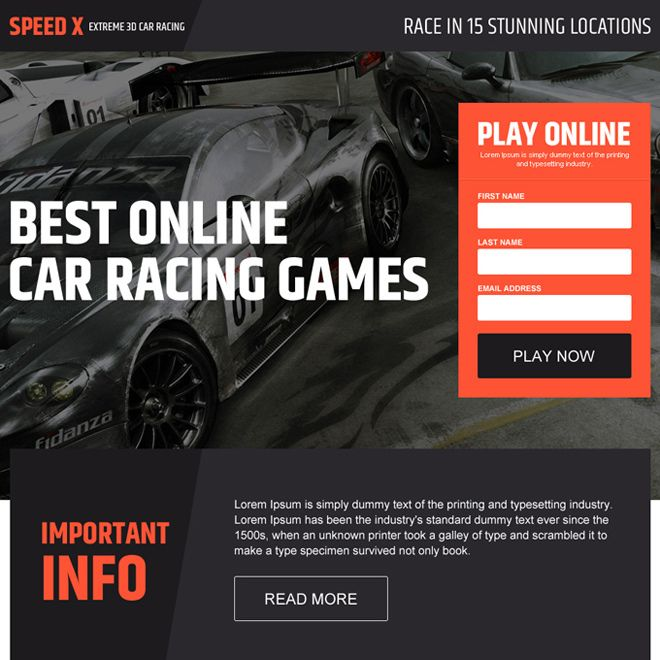 online car racing game lead capturing landing page design
