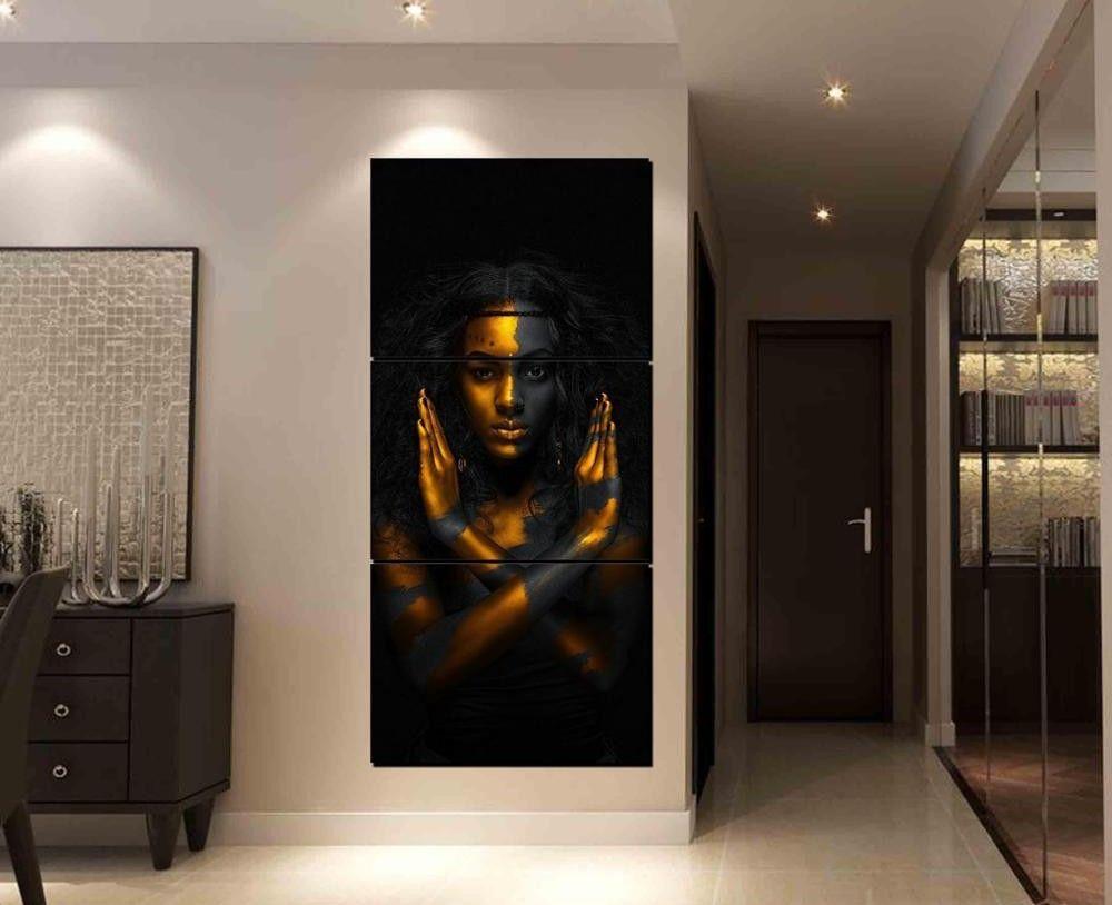 Gold Black Art African American Wall Art Canvas African American