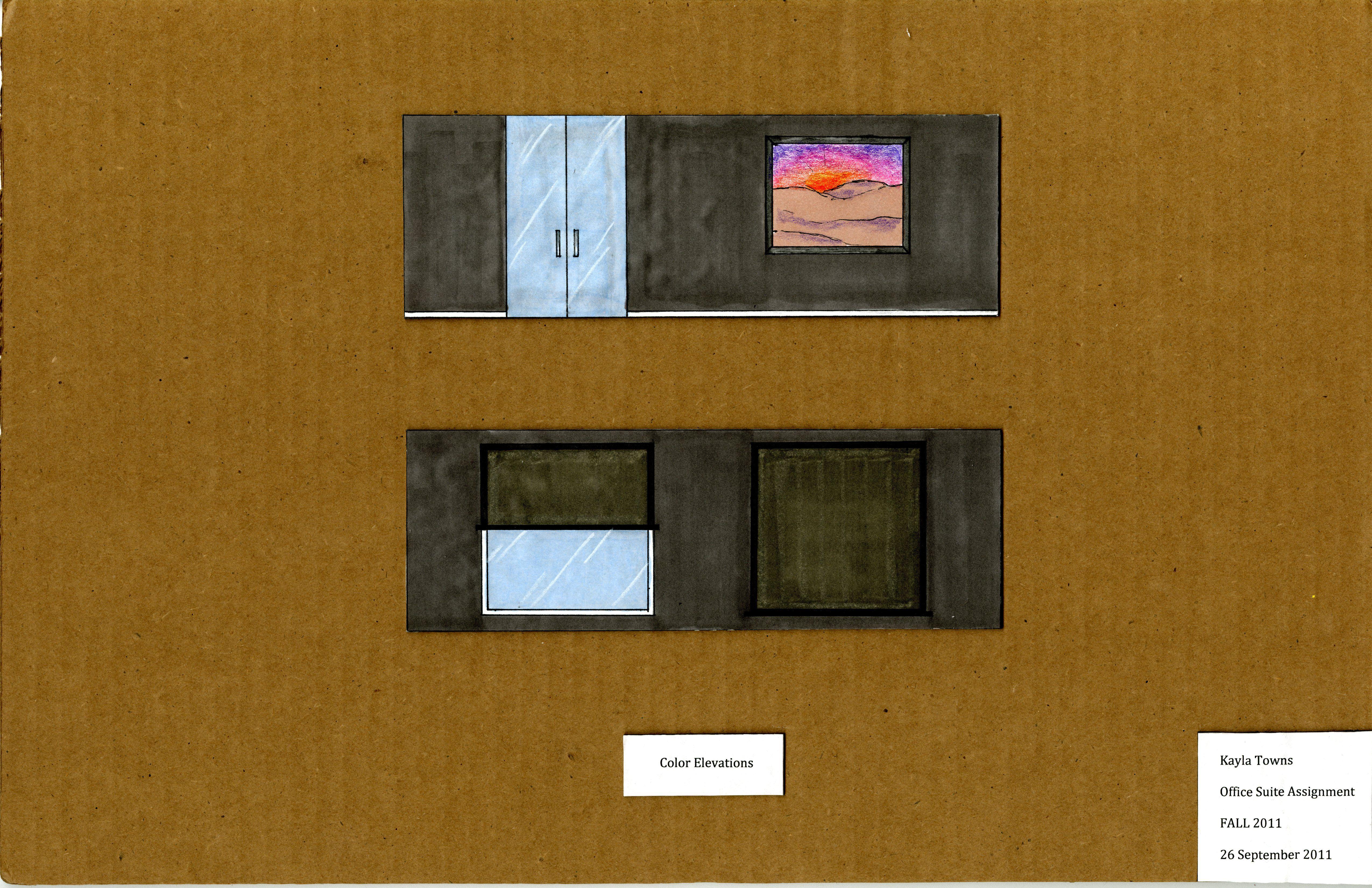 Office Design: Rendered Elevation (Prismacolor Pencil/ AD ...