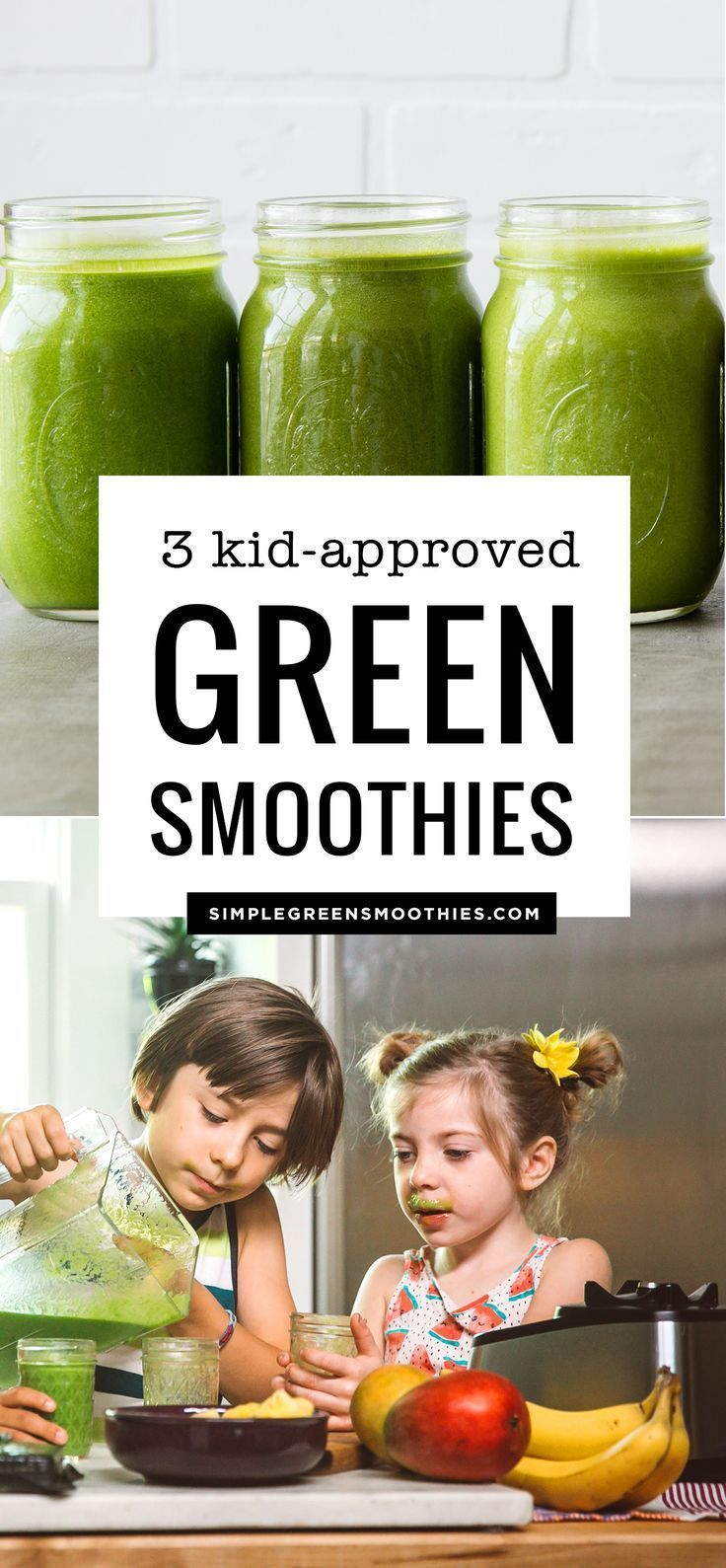 3 Green Smoothies for Kids #fruitsmoothie