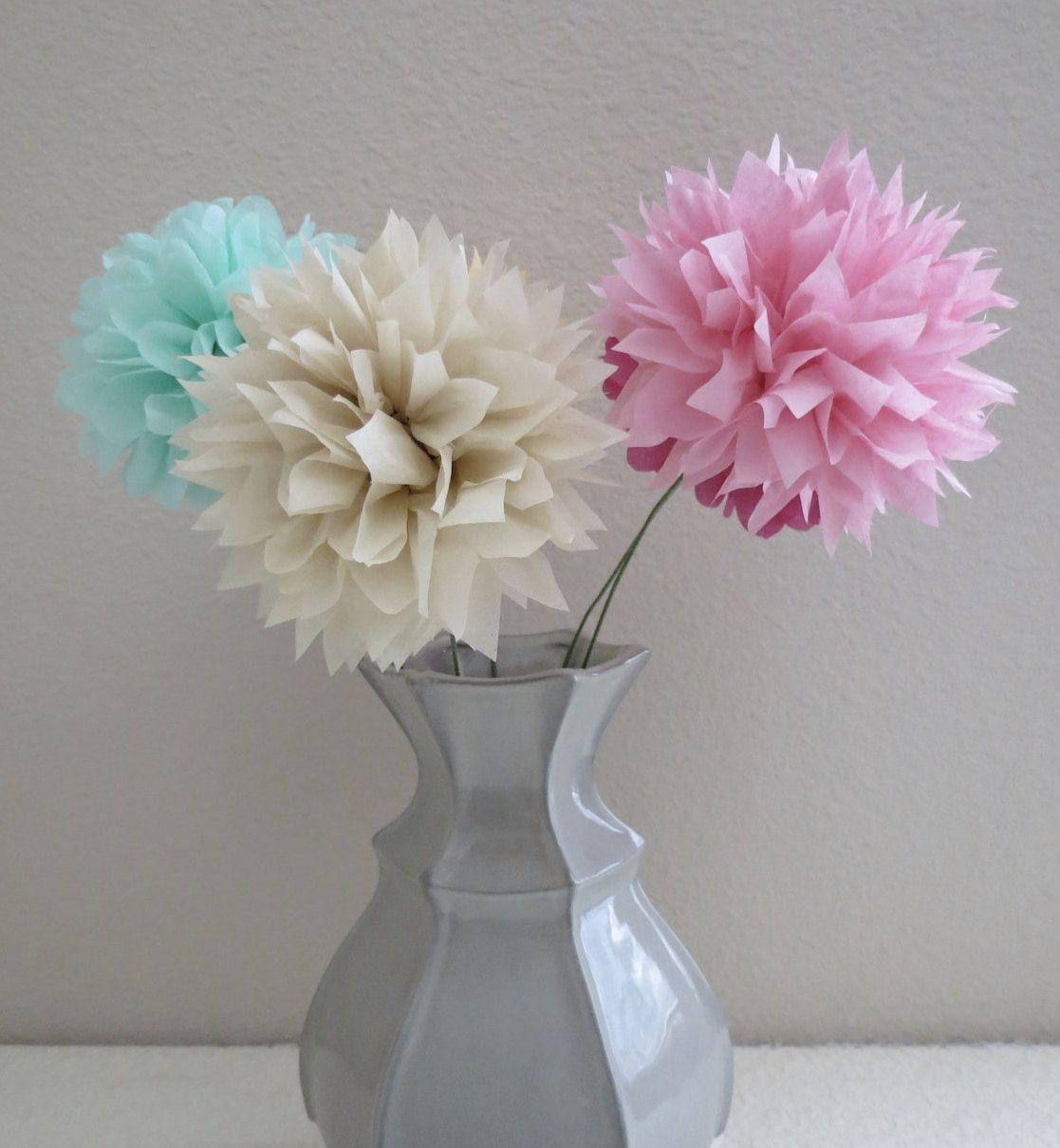 Paper Pom Pom Flower Stems 5 Piece Set Your Choice Of Colors