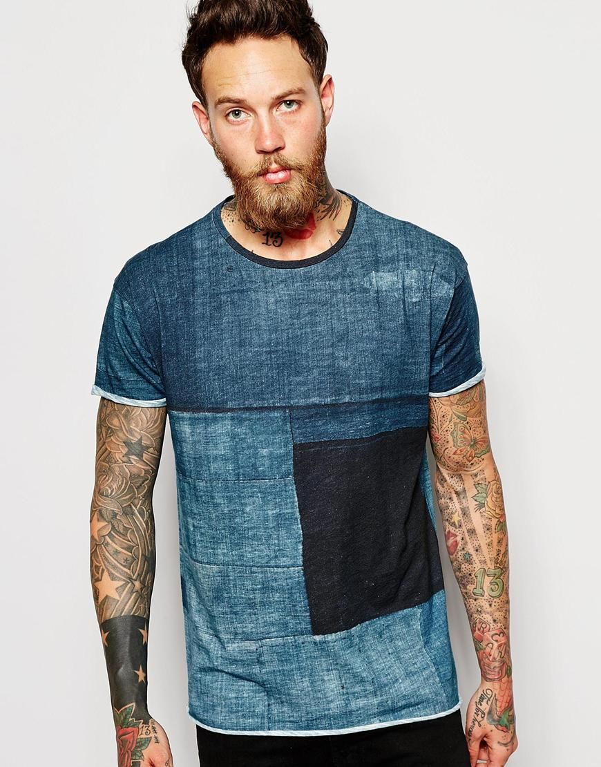 Nudie T-Shirt Raw Hem Organic Boro Constrast Denim Print   Men's ...