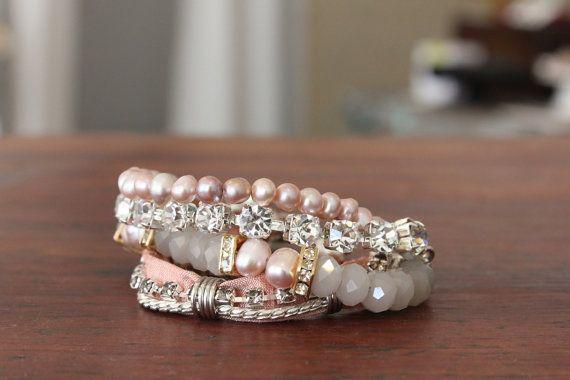 Pink Elegant Bridal Bracelet with by charlottehostenbride on Etsy, $166.00