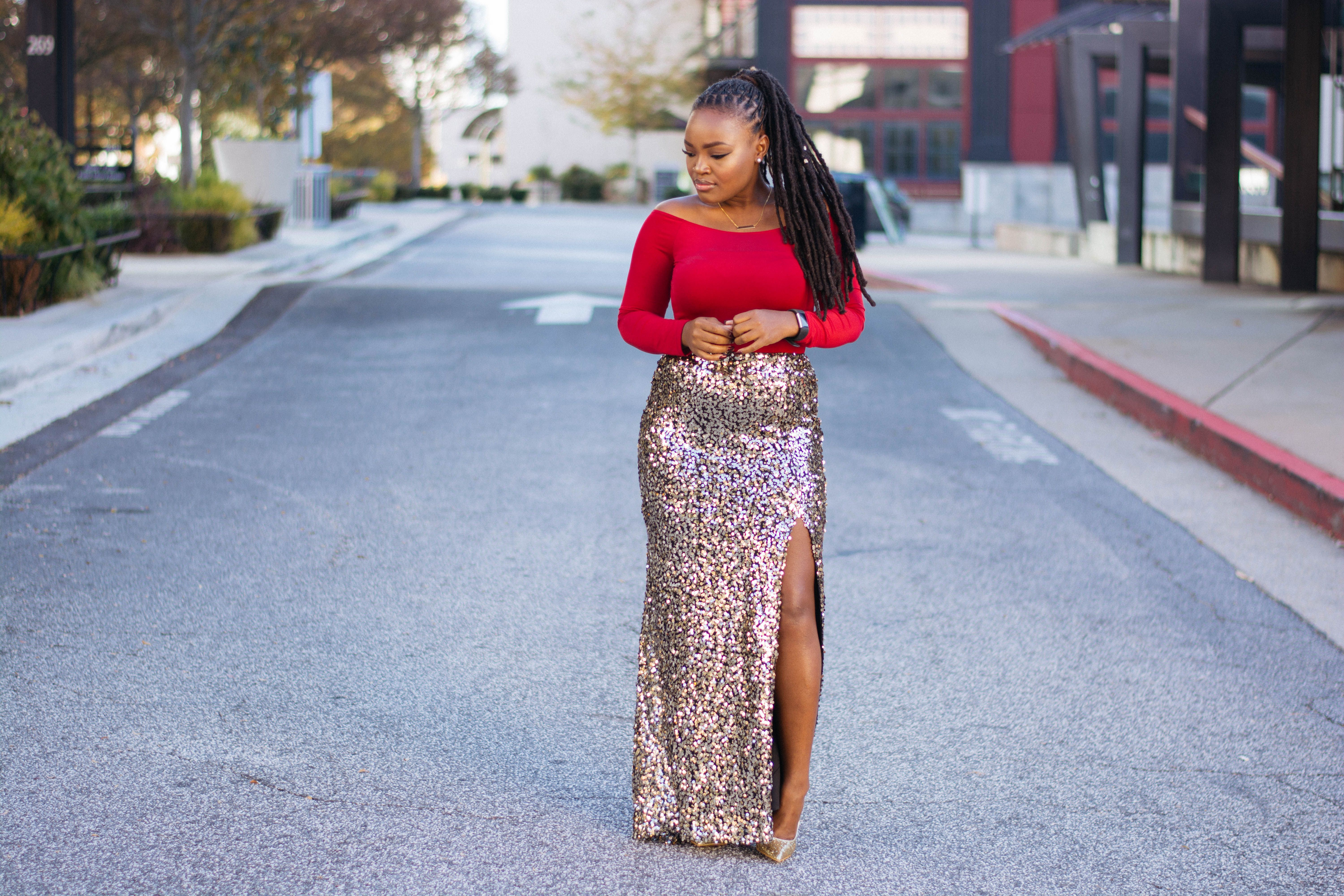 849fb3d01 OFF THE SHOULDER RED BODYSUIT X SEQUIN MAXI SKIRT | Style ...