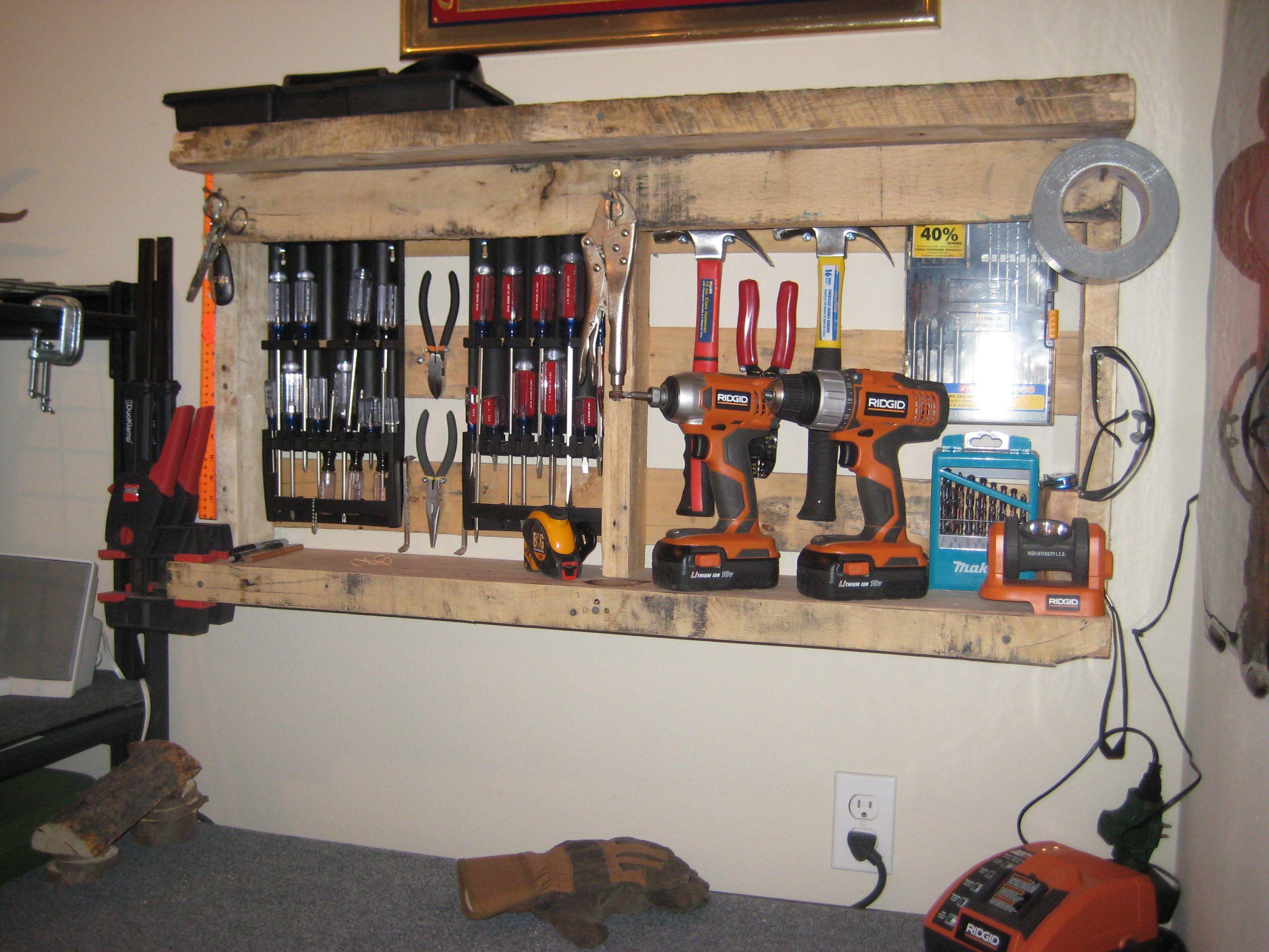 Old pallet = garage shelf | Pallets | Pinterest | Garage ...