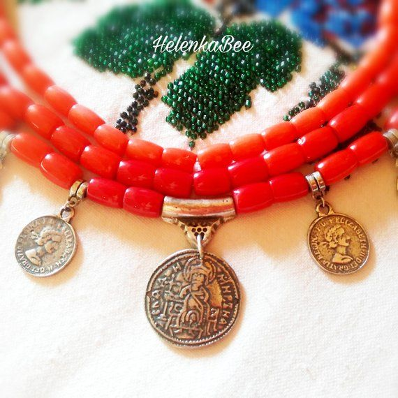 Ukrainian jewelry coin bead necklace, Bib coral red necklace, Coral bead coin pendant 3 strand neckl