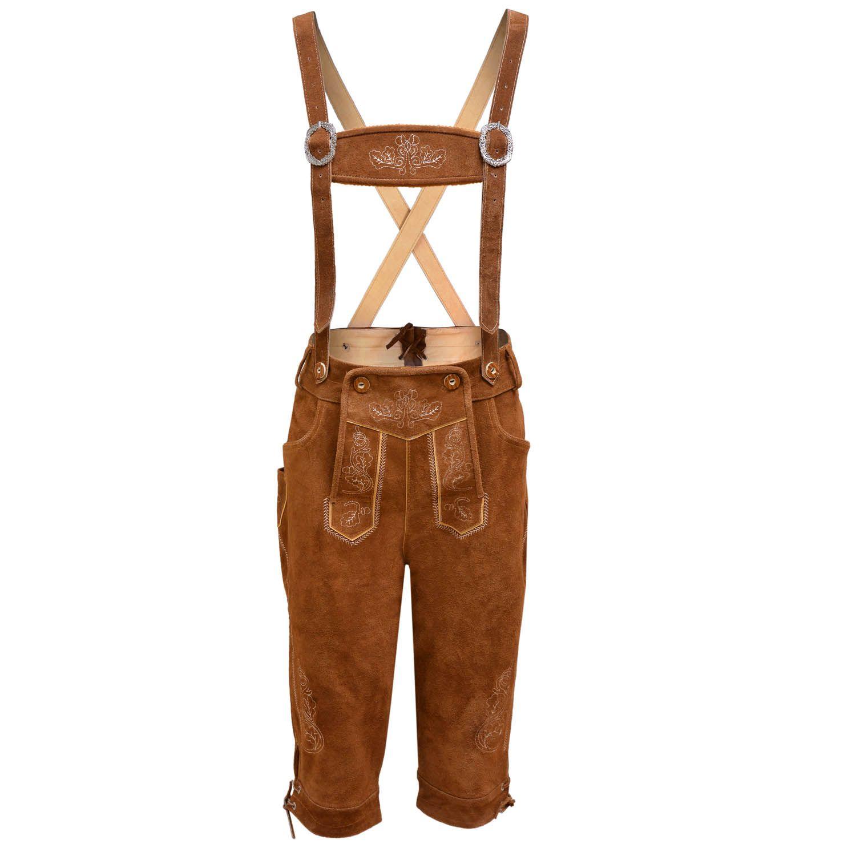 Mens Bavarian LEDERHOSEN Cowhide Brown Leather \ with Matching Suspenders Shorts