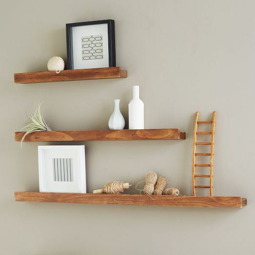 Staggered Shelves Reclaimed Wood Floating Shelves Wood Floating Shelves Picture Ledge