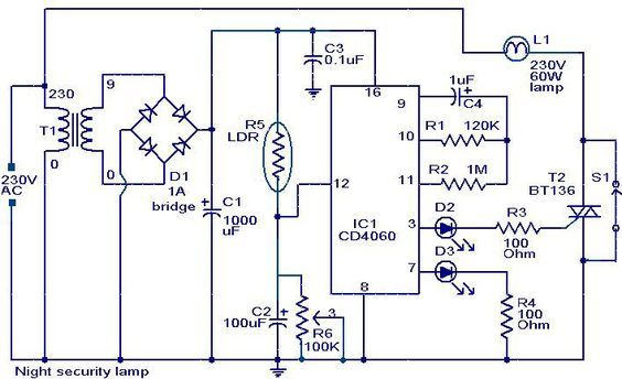 night security light circuit diagram proyectos a intentar rh pinterest com Simple Light Bulb Circuit Diagram LDR Relay Circuit Diagram