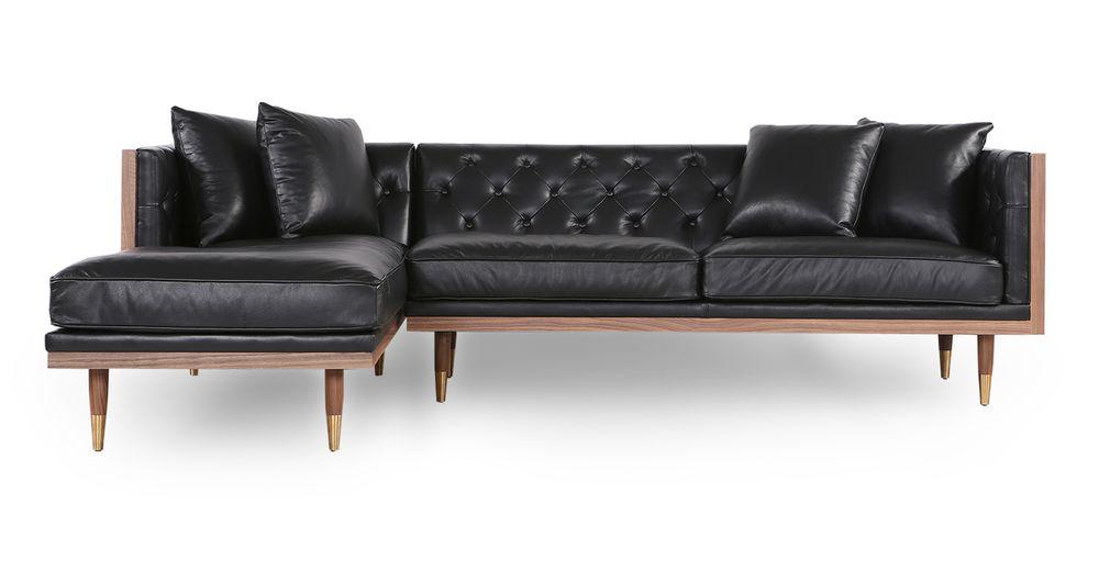 Woodrow Neo 99 Leather Sofa Sectional Left Walnut Black Aniline Sectional Sofa Neo Sofa Leather Sofa