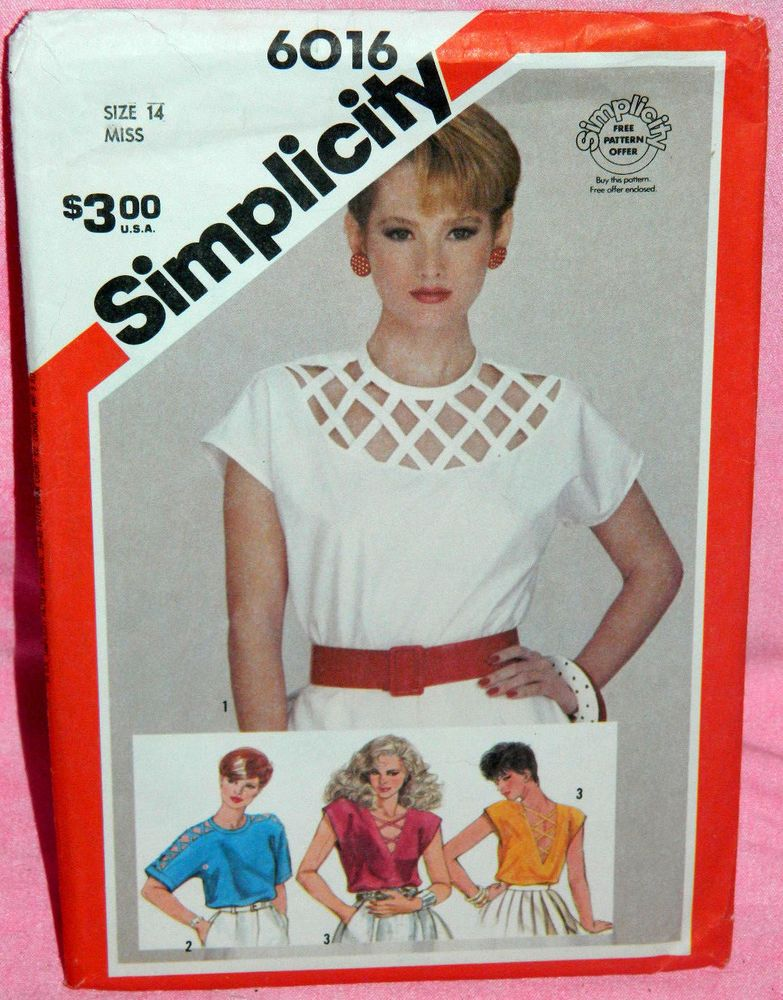 Uncut VTG Simplicity Sz 14 Pullover Tops Pattern 6016 Lattice Yoke ...