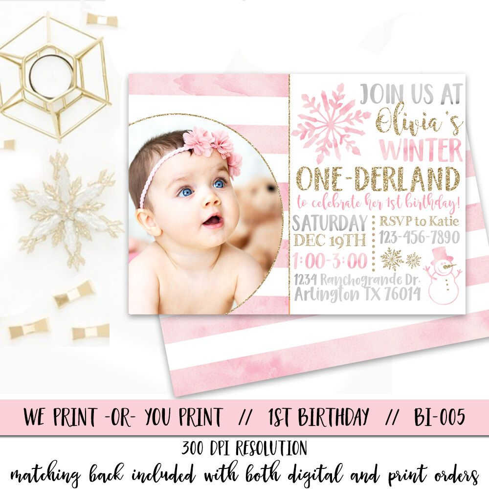 Winter Onederland Invitation, Girl Onederland Birthday Invitation ...