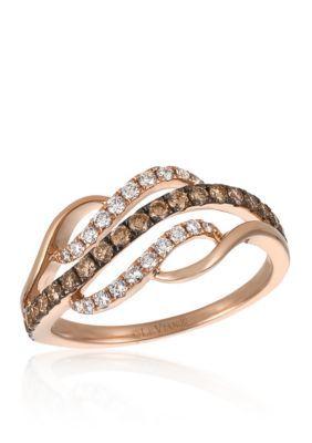 Le Vian Brown Vanilla Diamonds174 and Chocolate Diamonds174 Ring in 14K Strawberry Gold