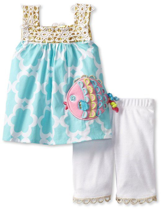 5adc06c42a8e Amazon.com  Mud Pie Baby-Girls Newborn Crochet Fish Tunic and Legging   Clothing